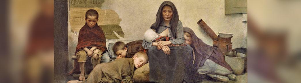 personas pobres pintura
